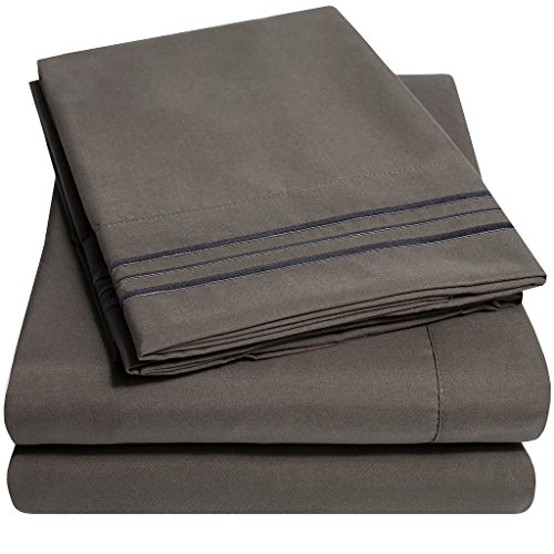 luxury bed sheets set with deep pocket wrinkle free bedding over 40 colors california king size gray supreme collection extra soft