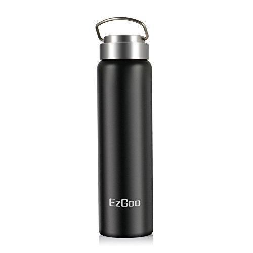 c155734fef 25 OZ Black - EzGoo Double Wall Vacuum Insulated Stainless Steel Sports  Water Bottle Wide Mouth with BPA Free Flex Cap and Loop Cap